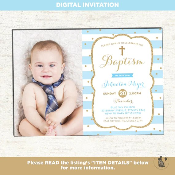boy baptism invitation blue and gold