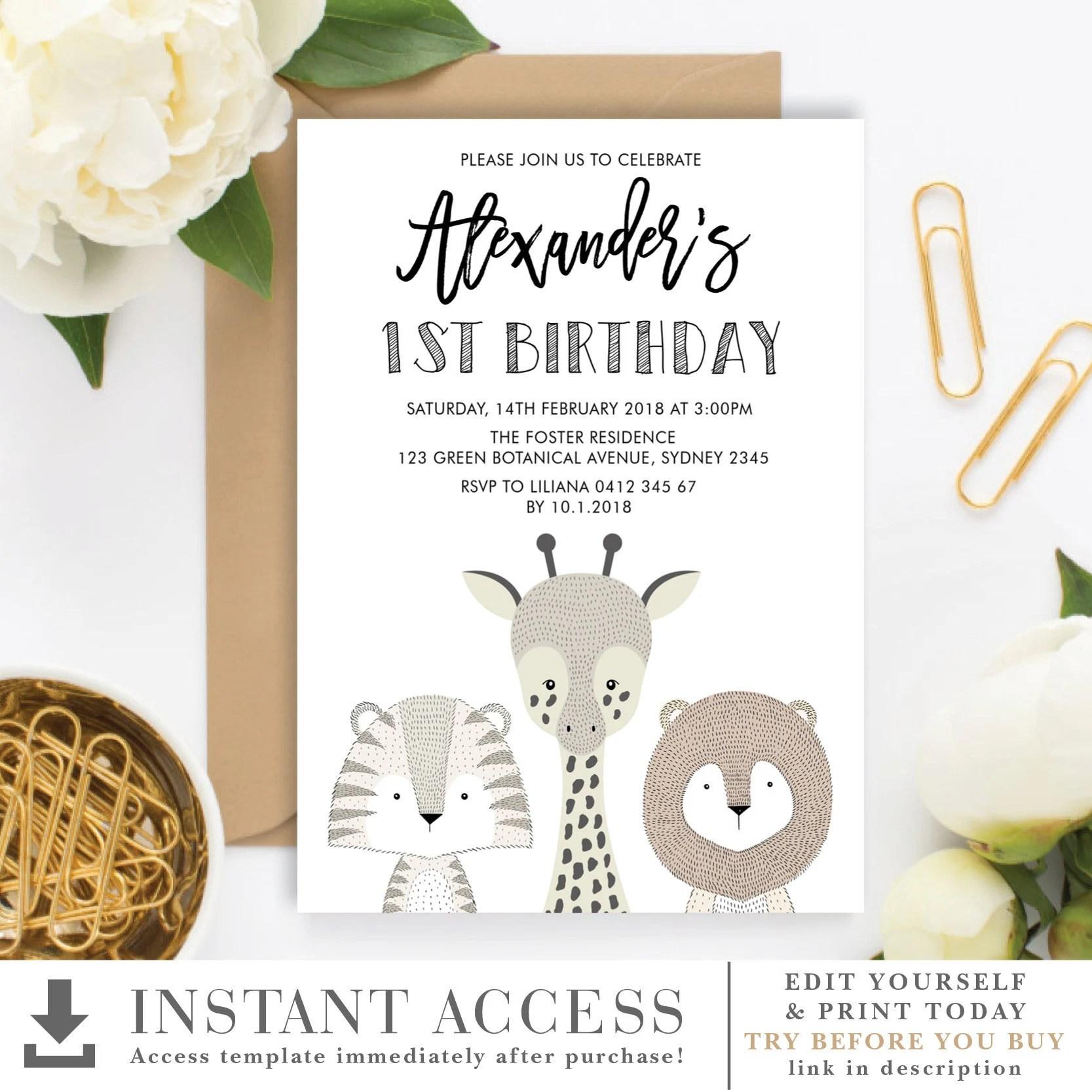 minimalist jungle 1st birthday