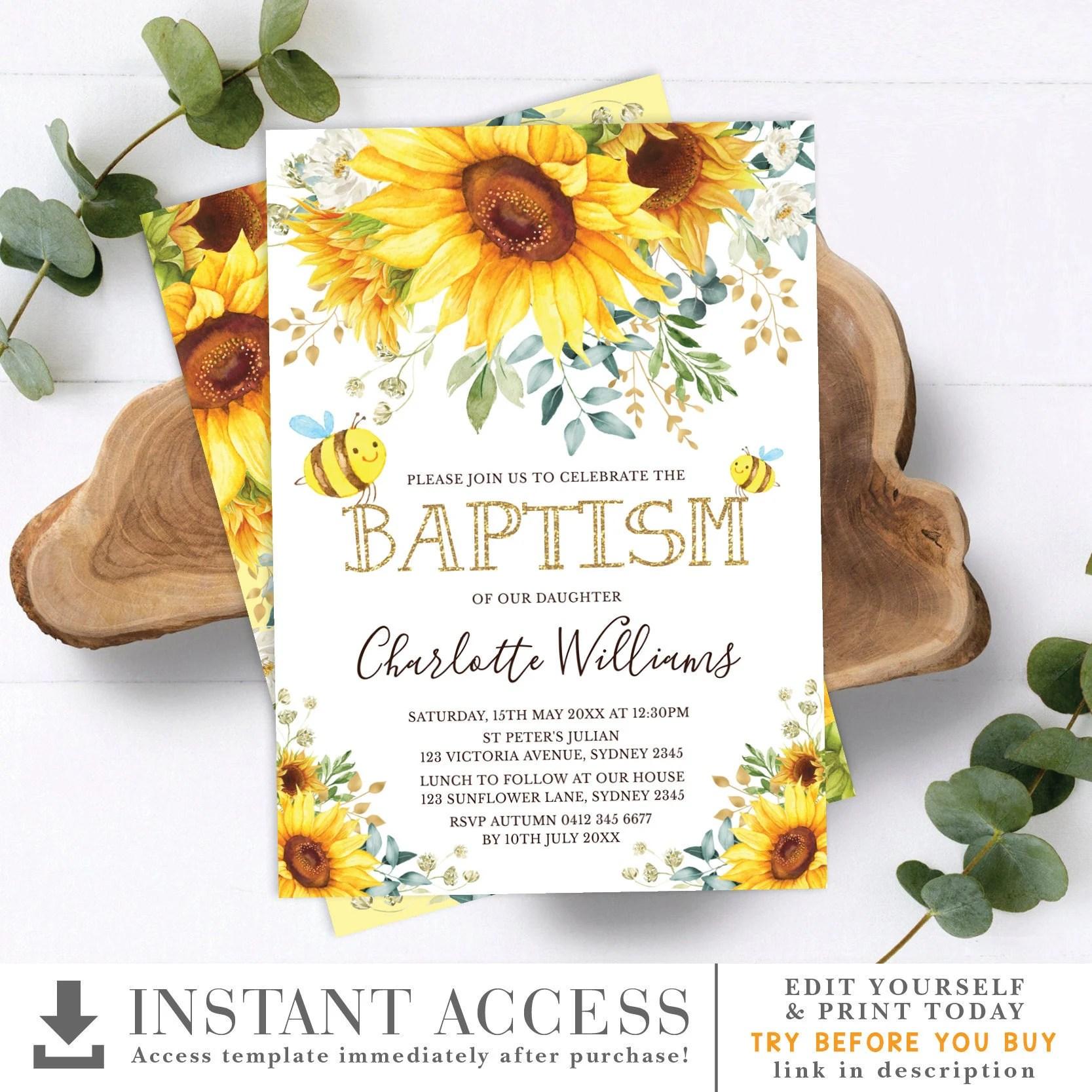 editable sunflower baptism invitation