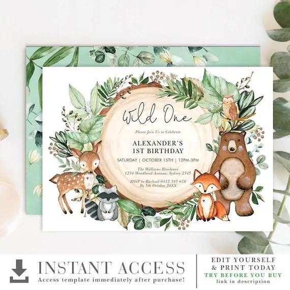 woodland birthday invitation forest greenery 1st first birthday printable invite wild one cute animals editable template wood24