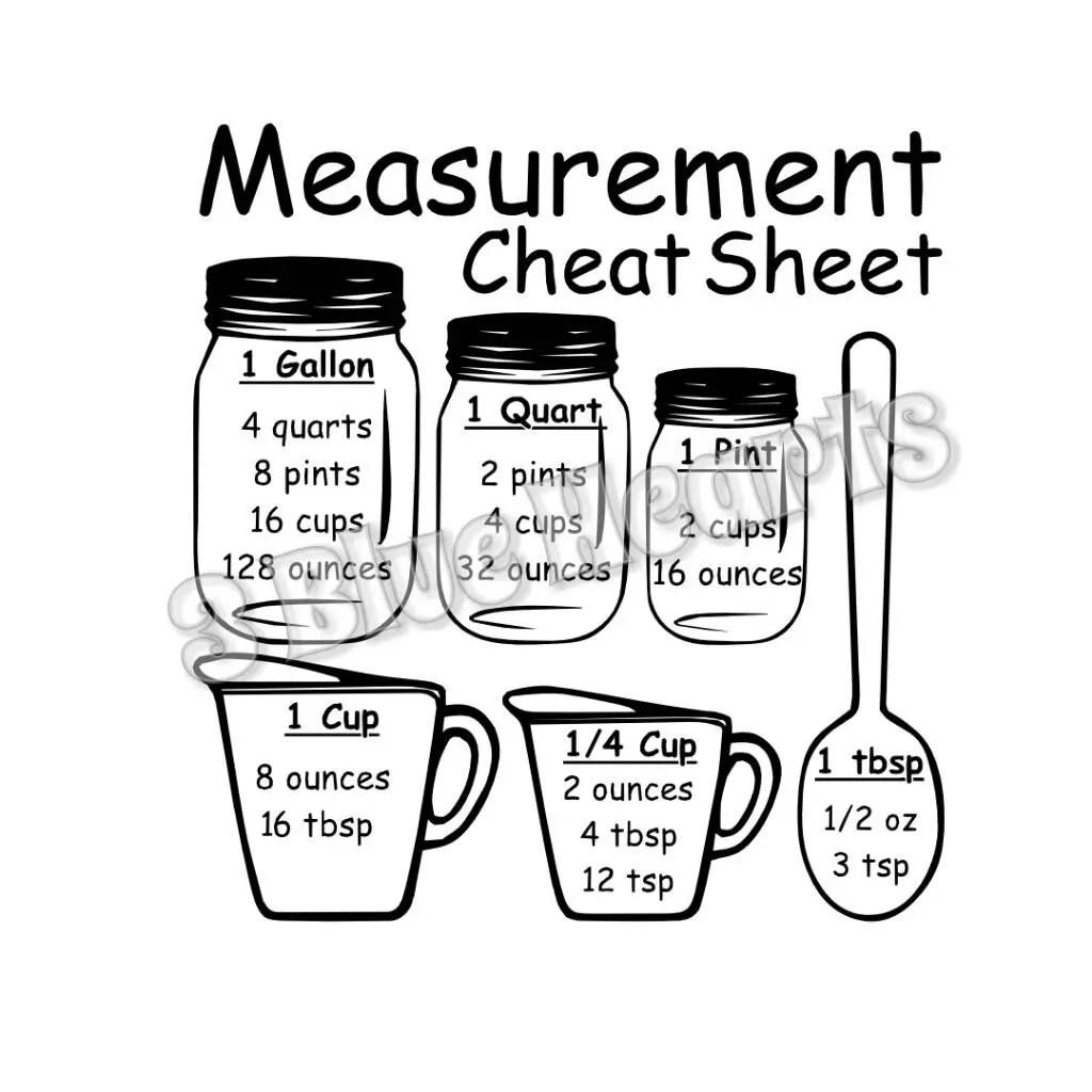 Measurement Cheat Sheet SVG Studio DXf pdf Cutting Board