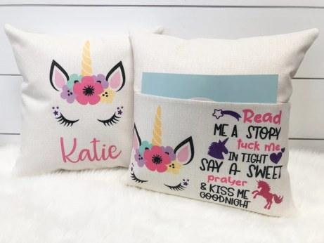 Book Pillow Unicorn Gift Personalized Pocket Reading Pillow image 0