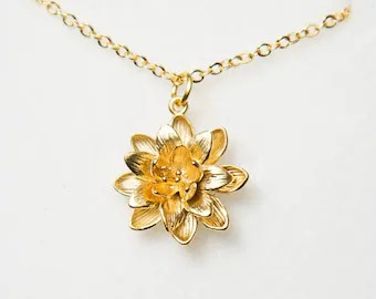 gold flower necklace etsy