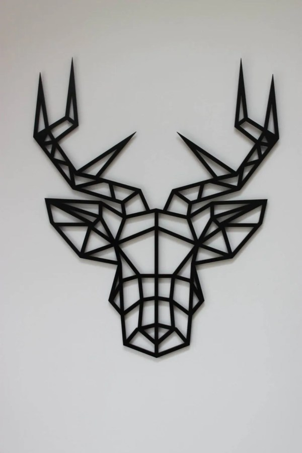 Geometric Stag Animal Head Large Original And Unique Laser Cut Artwork Contemporary