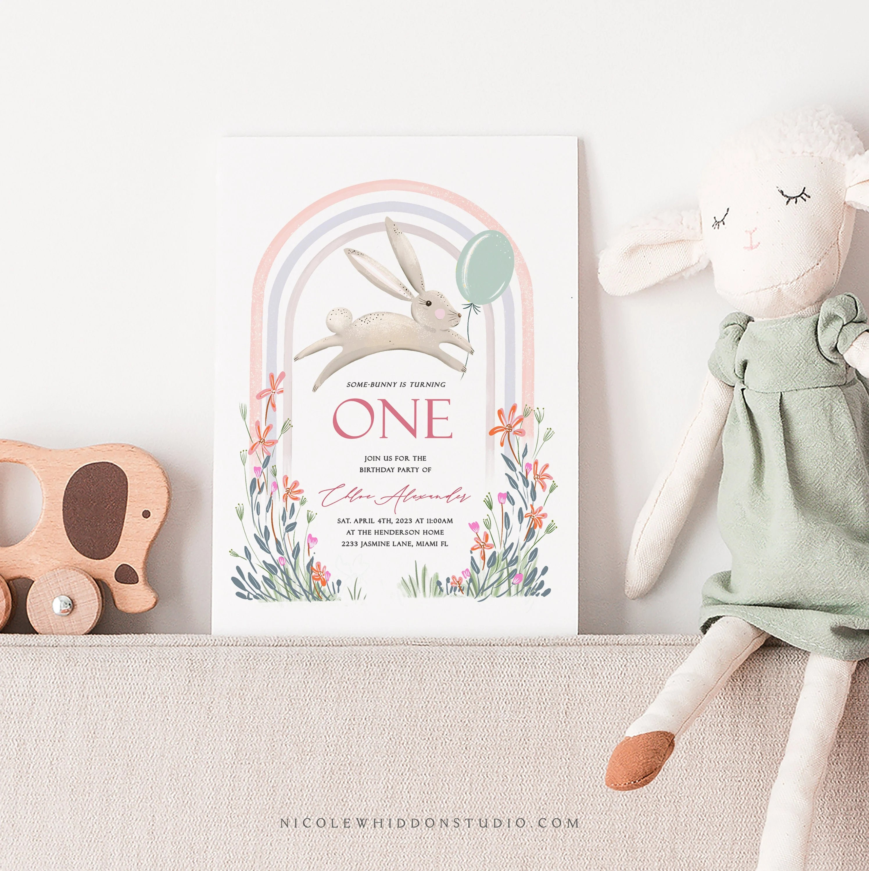 bunny birthday invitation some bunny