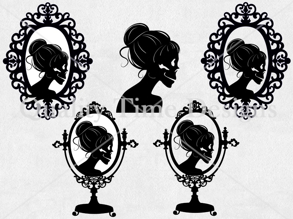 medium resolution of halloween clipart set skeleton lady silhouette vintage frame messy bun clipart holiday digital graphic set spooky clipart clip art