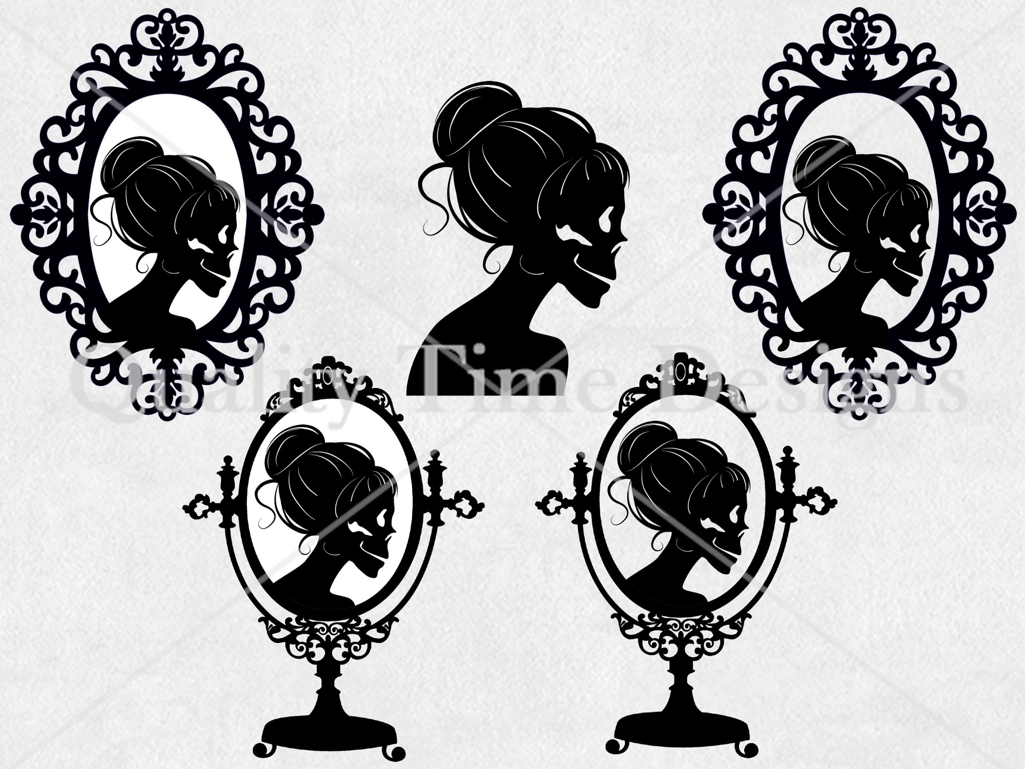 hight resolution of halloween clipart set skeleton lady silhouette vintage frame messy bun clipart holiday digital graphic set spooky clipart clip art
