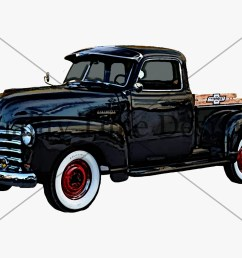 black vintage truck clipart rusty rustic country chevy pickup retro car hand painted clip art graphic design instant download [ 1500 x 1125 Pixel ]