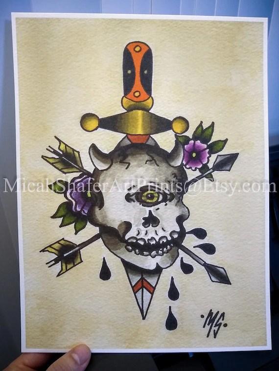 American Traditional Tattoo Skull : american, traditional, tattoo, skull, Cyclops, Skull, Tattoo, Flash, Print, American, Traditional