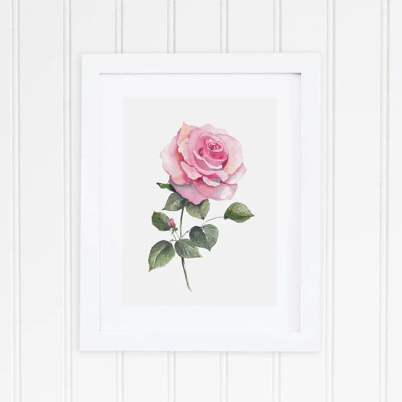 watercolor rose print watercolor