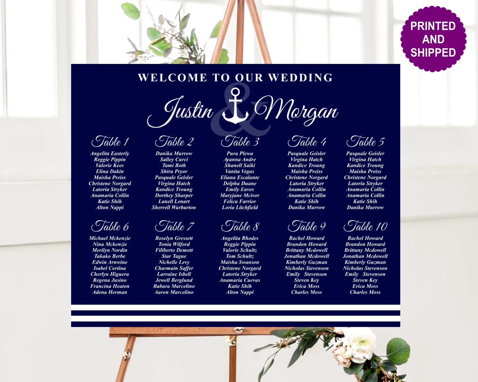 Printed nautical seating chart navy wedding anchor foam board guest plan poster also etsy rh