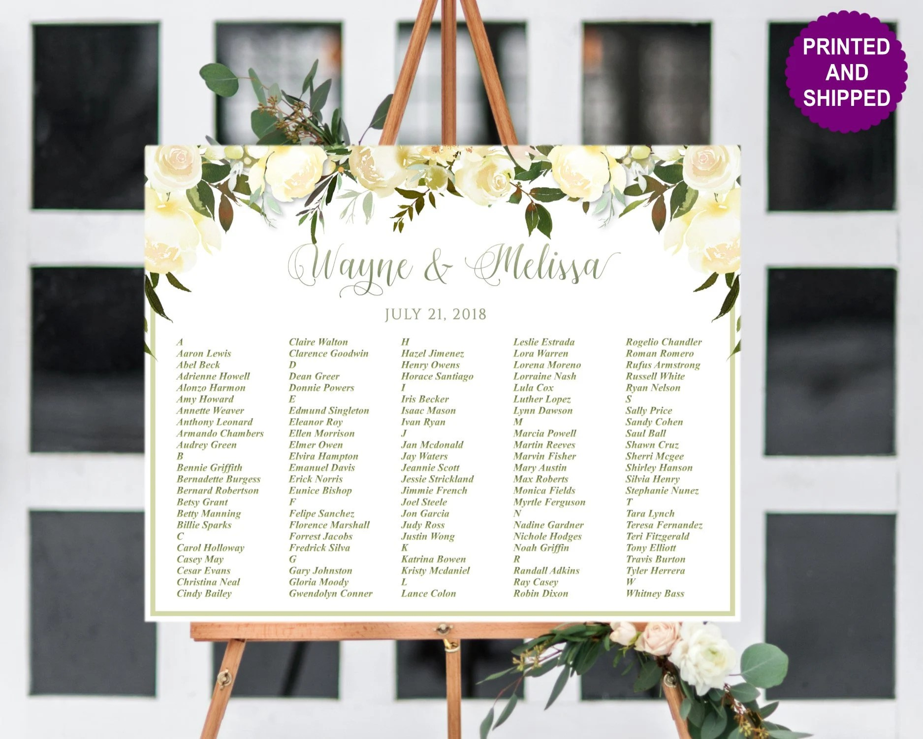 Printed greenery wedding seating chart green and white floral chartblush foam board or canvas also etsy rh