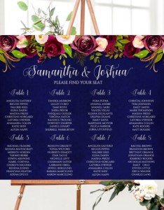 Image also printed bold flowers wedding seating chart navy and purple floral table poster foam board rh etsy