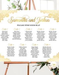 Image also printed gold wedding seating chart poster foam board table etsy rh
