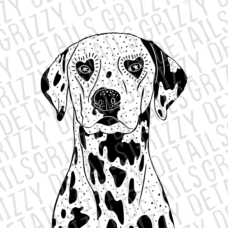 Dalmatian Face Art Print Breed Illustration Heart Shaped