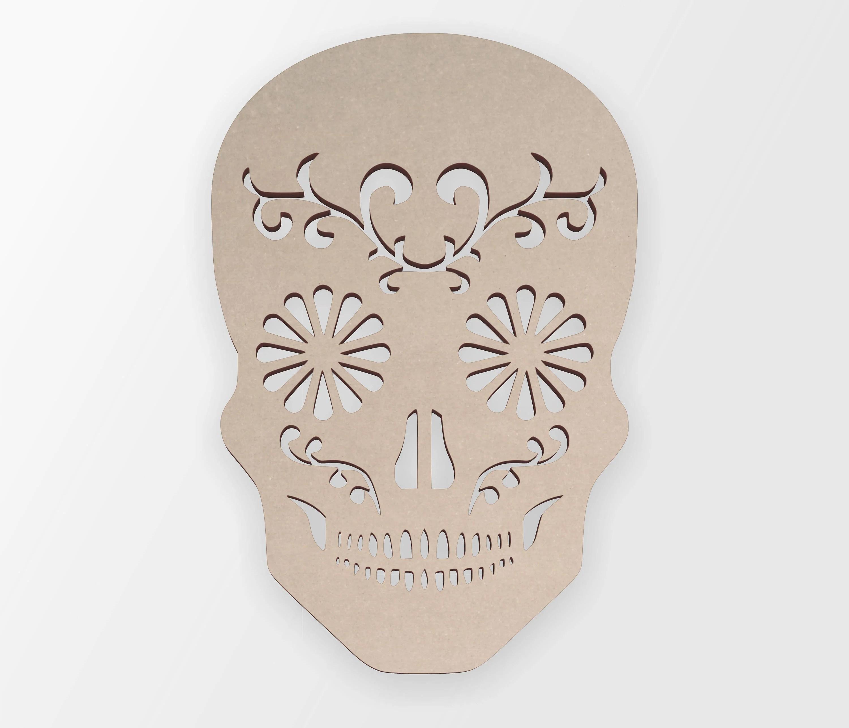 Wooden Shape Sugar Skull Wooden Cut Out Wall Art Home
