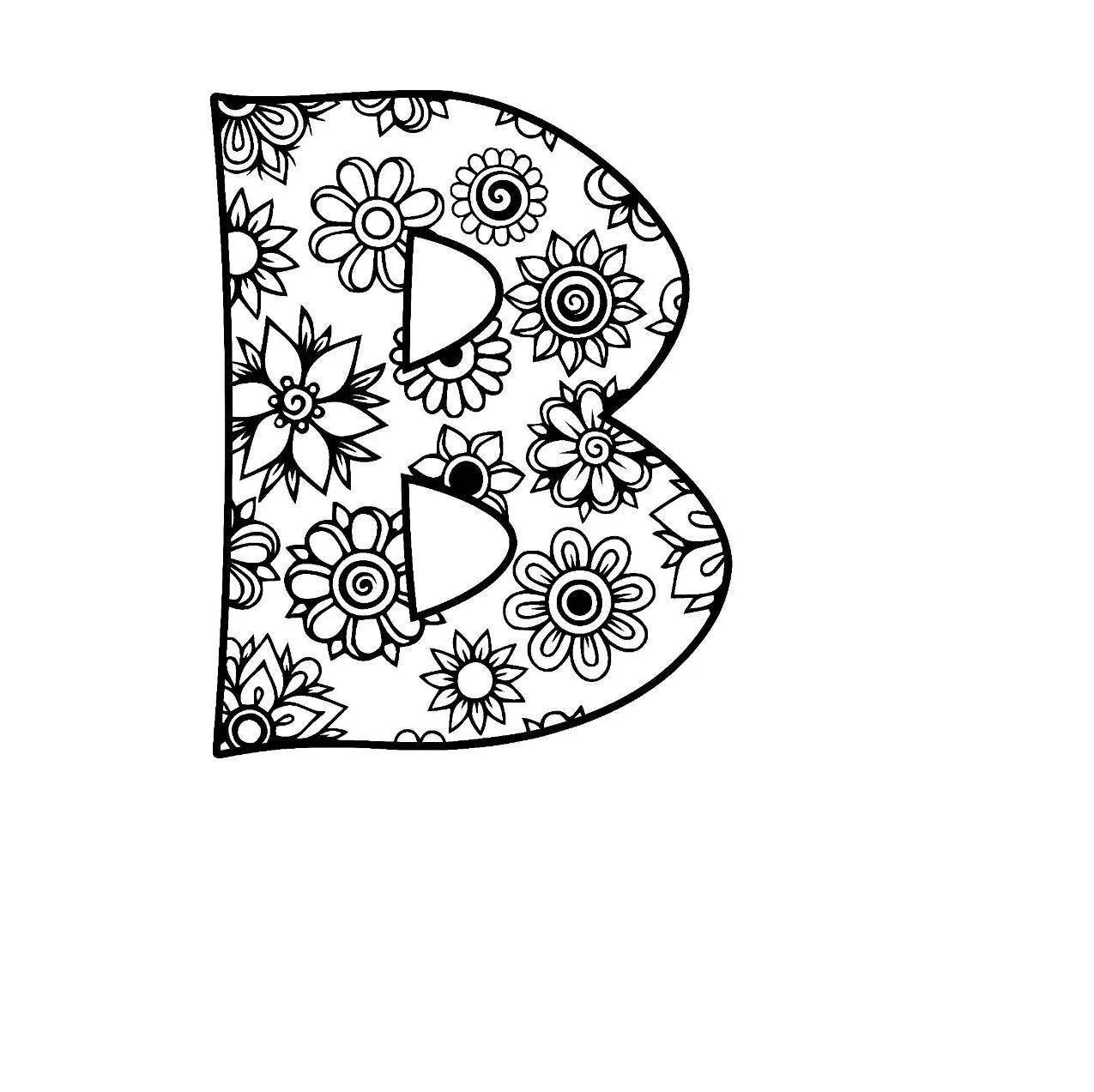 Letter B Alphabet Flowers SVG / JPEG / PNG /pdf / use with