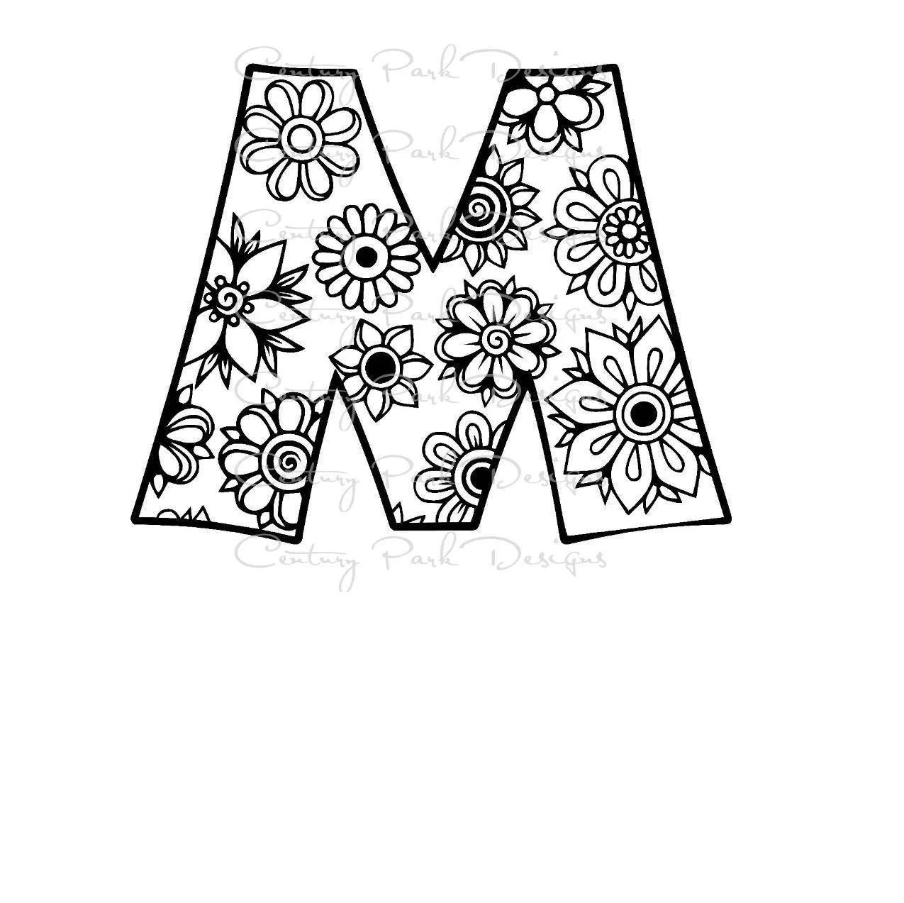 Letter M Alphabet Flowers SVG / JPEG / PNG /pdf / use with