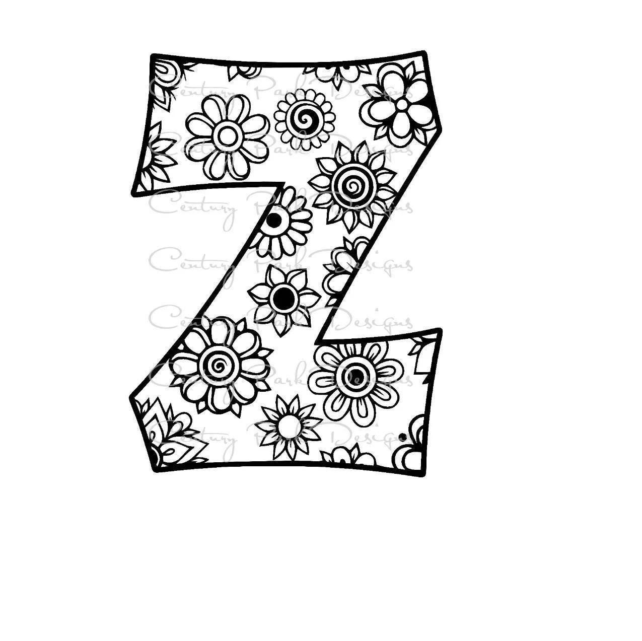 Letter Z Alphabet Flowers SVG / JPEG / PNG /pdf / use with