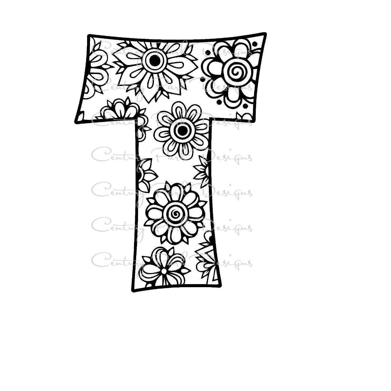Letter T Alphabet Flowers SVG / JPEG / PNG /pdf / use with