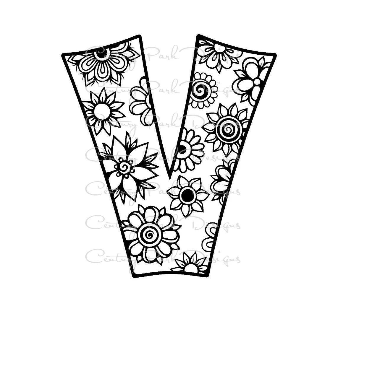 Letter V Alphabet Flowers SVG / JPEG / PNG /pdf / use with