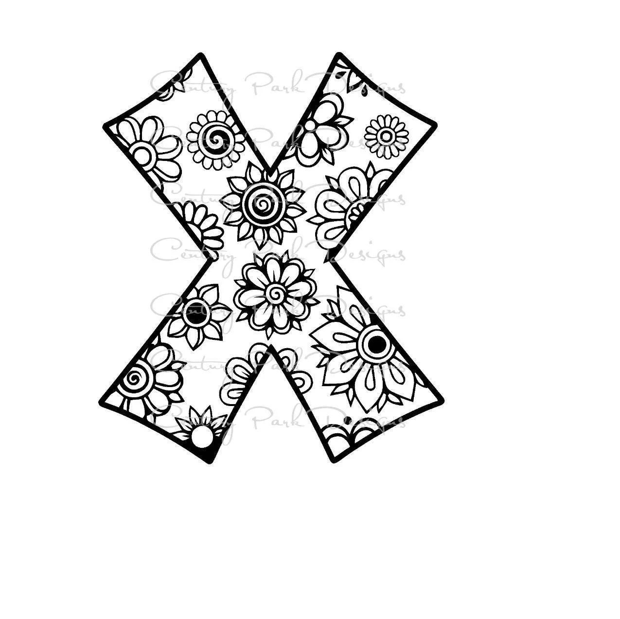 Letter X Alphabet Flowers SVG / JPEG / PNG /pdf / use with