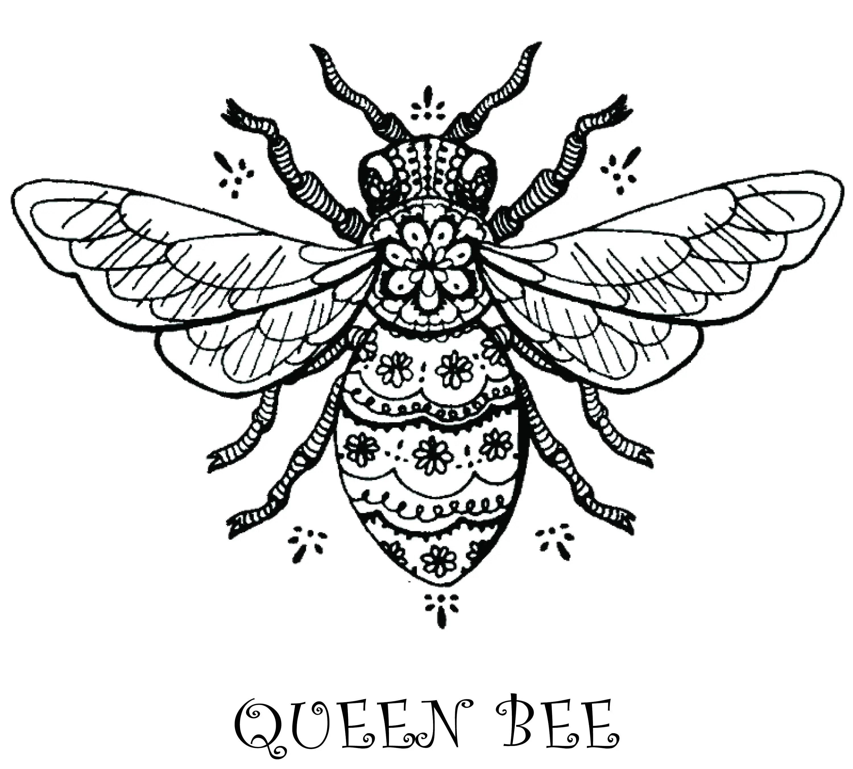 Printable Queen Bee Artwork Digital Download For Tattoo