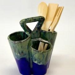 Carousel Kitchen Utensil Holder Table Runners Etsy Modern Blue Ceramic Caddy Handmade Pottery Decor Hand Thrown Keeper