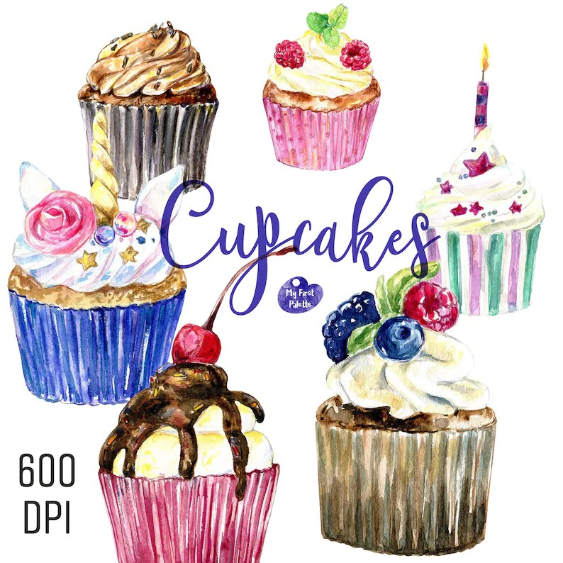 Watercolor Cupcakes 600 Dpi Png Transparent Background Etsy
