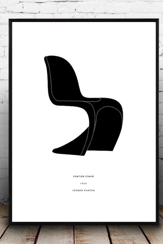 vernon panton chair guitar posture verner poster modern design etsy image 0
