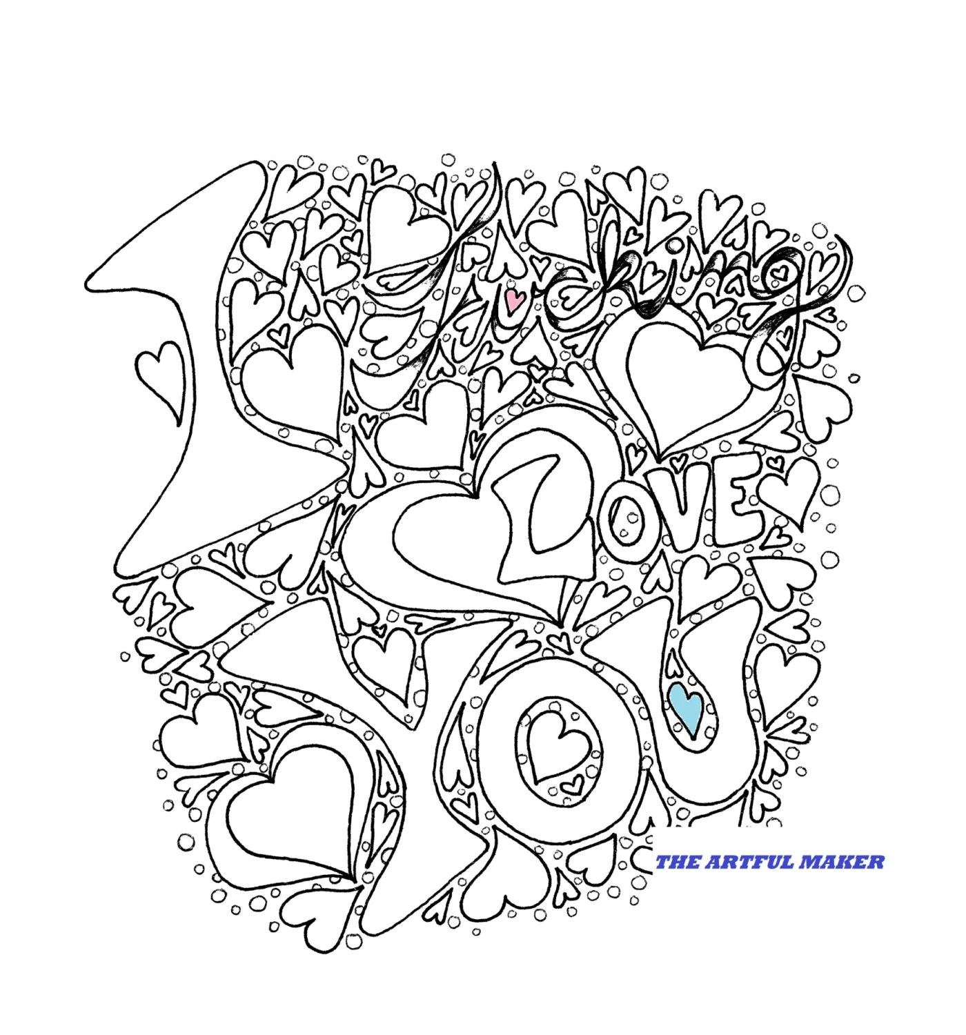 I Fucking Love You Adult Coloring Page by The Artful Maker