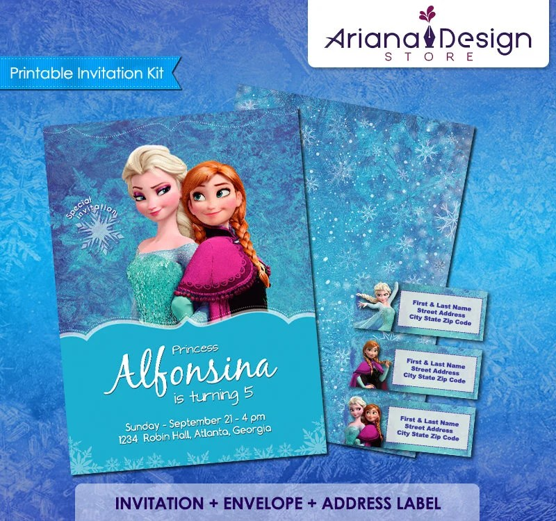 frozen birthday invitation card template