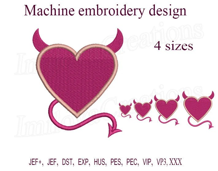 devil heart machine embroidery