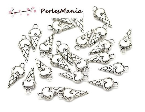 PAX: 50 pendants charms silver GLUTTONY ice cream cone