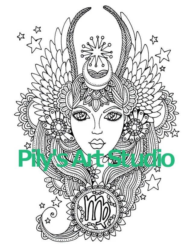 Instant Download PDF virgo Zentangle Coloring page.