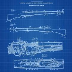 M1 Rifle Diagram 2000 Chevy Blazer Ignition Switch Wiring Garand Patent Etsy 1932 Print Wall Decor Gun Art Firearm Military