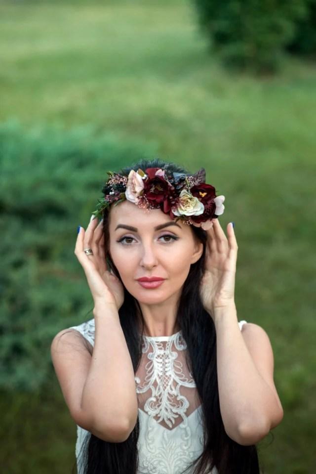 maroon blush pink flower crown burgundy floral headpiece wedding hair wreath bridal headband boutonniere bridesmaid hair flowers