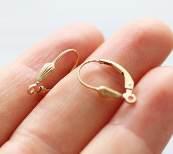 2pc 14k Gold Filled Lever Earring Wires Ear 1