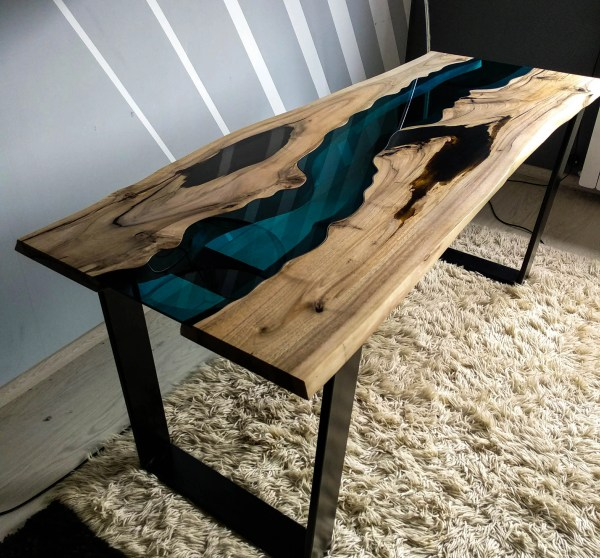 Epoxy Resin Live Edge Table Black - Year of Clean Water
