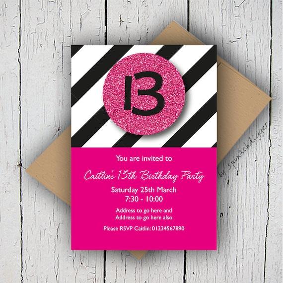 teen birthday invitation age birthday invite teen s party invite girls invitation pink printable invite personalised girly invitation