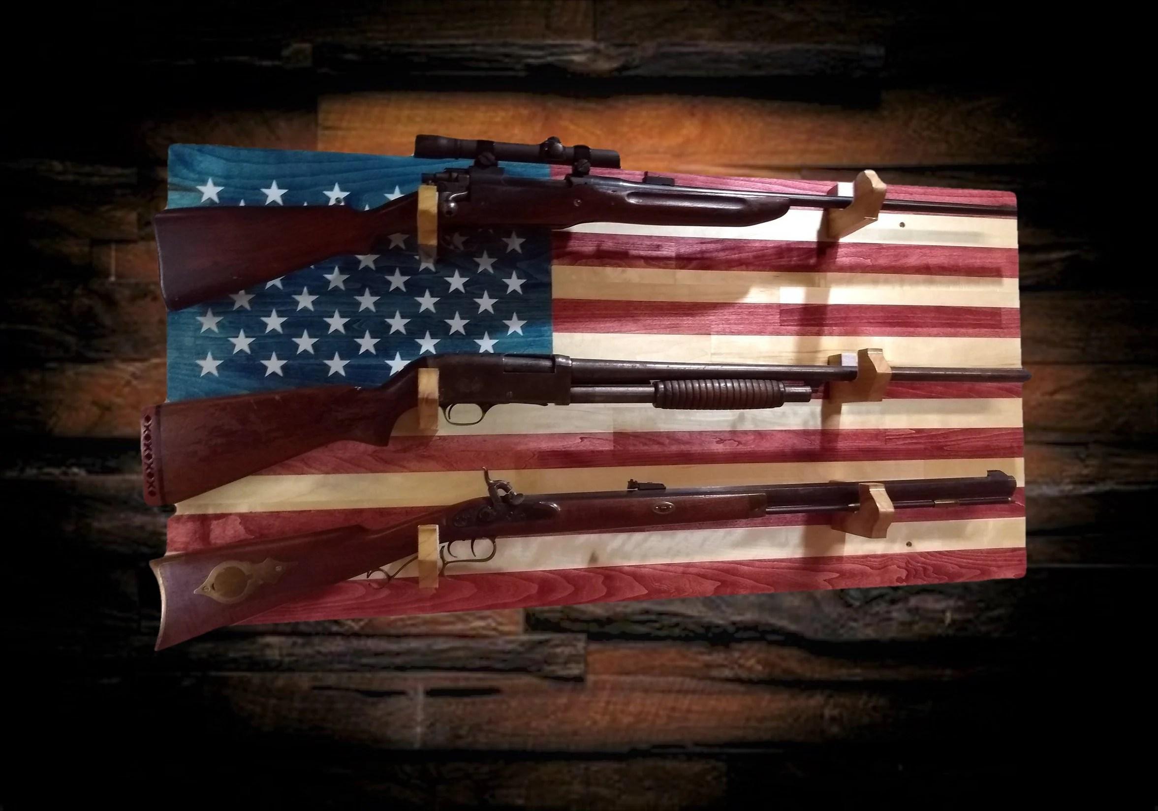 american flag gun rack 3 place aspen