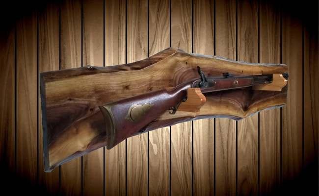 Rustic Walnut Gun Rack Oak Hangers Wall Mount Rifle