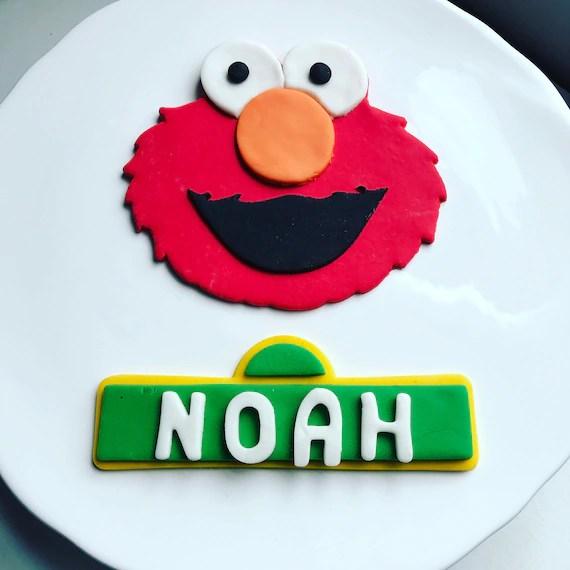 Elmo Cake Topper Elmo Face And Custom Sesame Street Sign Etsy