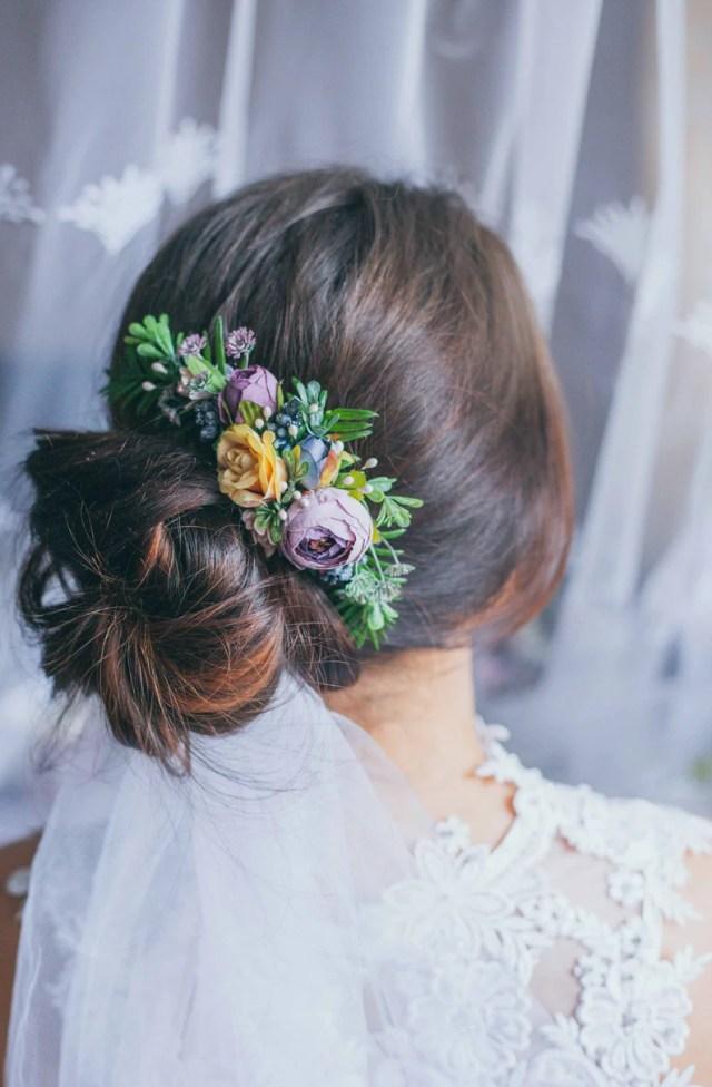wedding hair accessory purple flower hair comb greenery hair comb boho hair comb dried flower comb flower girl accessories bridal hair piece