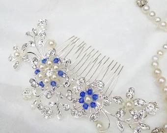 big silver blue crystal hair comb pearl hair comb blue bridesmaids hair piece royal blue flower wedding hair comb large bridal comb 18