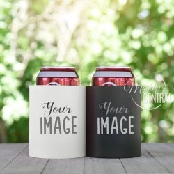 White Black Foam Can Cooler Set Mockup Photo Outdoor Party Etsy