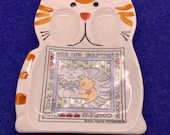 Vintage humorous Cat Spoon Rest Susan Marie McChesney Design Cats Are Gourmets Cats Love Home Cooking Cats Love to Eat