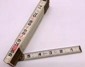 Vintage Lufkin Two Way Ruler 72 Inch Folding Wood Yard Stick Metal Hinged Rustic Home Decor