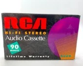 Vintage Blank RCA Audio Cassette 90 Minute Mix Tape Hi Fi Stereo Cassette New Old Stock Never Opened
