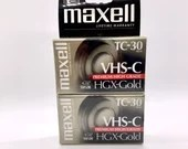 Two Pack Maxell VHS-C Videocassette Premium High Grade HGX-Gold TC-30 Minute Blank Camcorder Tape